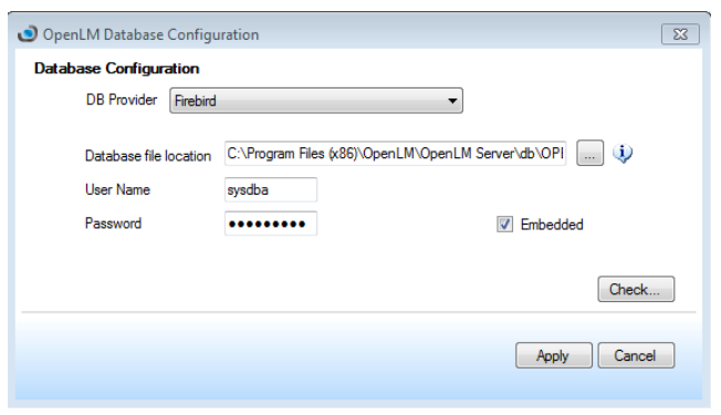 Firebird Embedded Database Configuration