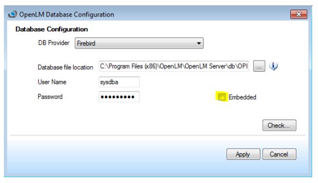 Firebird External DB Configuration