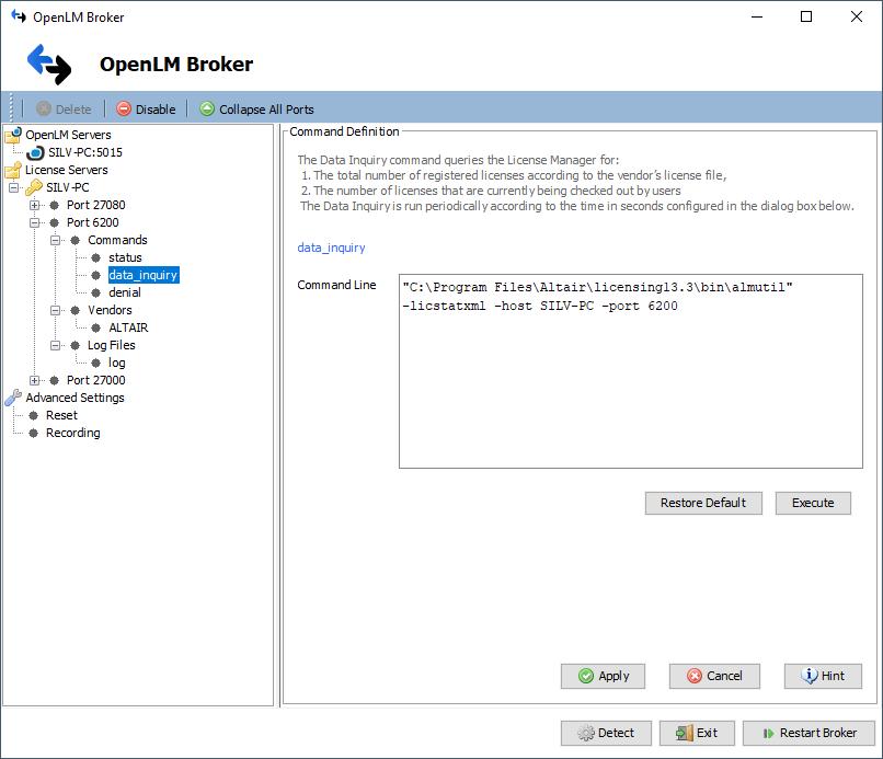 OpenLM Broker configuration for Altair License Server (ALS)