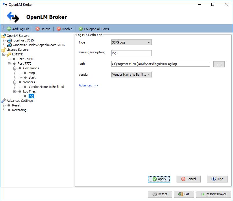 OpenLM Broker Sparx License Manager Log File settings
