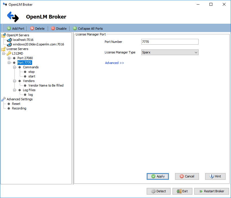 OpenLM Broker Sparx License Manager settings