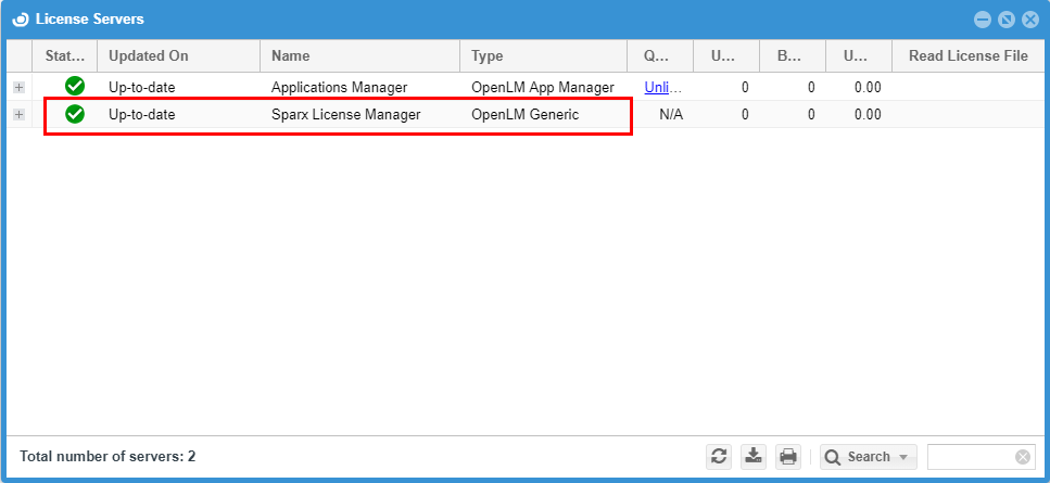 Sparx License Manager in the EasyAdmin's License Servers widget
